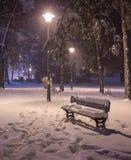 Πάγκος τοπίων χειμερινής νύχτας κάτω από τα δέντρα και λάμποντας μειωμένα snowflakes φωτεινών σηματοδοτών Στοκ Εικόνα