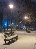 Πάγκος τοπίων χειμερινής νύχτας κάτω από τα δέντρα και λάμποντας μειωμένα snowflakes φωτεινών σηματοδοτών Στοκ Εικόνες