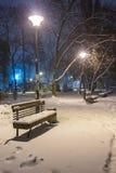 Πάγκος τοπίων χειμερινής νύχτας κάτω από τα δέντρα και τη λάμποντας οδό lig Στοκ φωτογραφία με δικαίωμα ελεύθερης χρήσης
