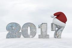 Πάγος αριθμός 2017 με την τρισδιάστατη δίνοντας απεικόνιση καπέλων Χριστουγέννων Στοκ Εικόνες
