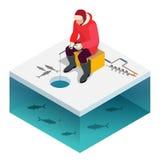 Πάγος ατόμων που αλιεύει σε μια λίμνη το χειμώνα διανυσματική απεικόνιση