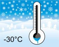 Πάγος - κρύο θερμόμετρο, χειμερινό τοπίο Στοκ εικόνες με δικαίωμα ελεύθερης χρήσης