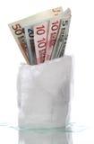 Πάγος με τα παγωμένα ευρωπαϊκά τραπεζογραμμάτια Στοκ εικόνες με δικαίωμα ελεύθερης χρήσης