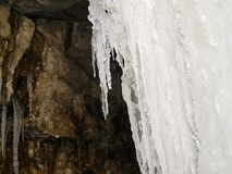 Πάγος - παγωμένος καταρράκτης το χειμώνα Στοκ Εικόνες