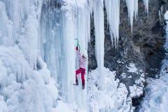 Πάγος που αναρριχείται στον καταρράκτη Στοκ Φωτογραφίες