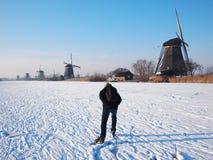 Πάγος που κάνει πατινάζ στην Ολλανδία στοκ εικόνα