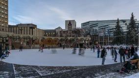 Πάγος που κάνει πατινάζ timelapse, ολυμπιακό Plaza, Κάλγκαρι απόθεμα βίντεο