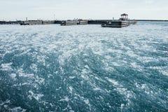 Πάγος του Μίτσιγκαν λιμνών το χειμώνα Στοκ Φωτογραφία