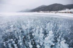 πάγος φυσαλίδων baikal λίμνη 33c ural χειμώνας θερμοκρασίας της Ρωσίας τοπίων Ιανουαρίου Στοκ Φωτογραφίες