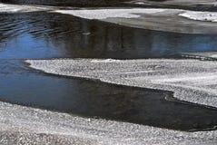 Πάγος Metling στο ρέοντας ποταμό Στοκ Εικόνες