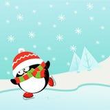 πάγος penguin που κάνει πατινάζ διανυσματική απεικόνιση