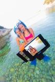 Πάγωμα της στιγμής πρίν κολυμπά με αναπνευτήρα Στοκ φωτογραφία με δικαίωμα ελεύθερης χρήσης