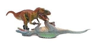 Πάλες τυραννοσαύρων με το spinosaurus στο άσπρο υπόβαθρο στοκ εικόνα με δικαίωμα ελεύθερης χρήσης