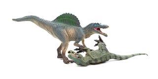 Πάλες Spinosaurus με το τυραννόσαυρο σε ένα άσπρο υπόβαθρο στοκ φωτογραφία