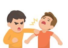 Πάλη δύο νεαρώνη άνδρων και να φωνάξει η μια στην άλλη, διάνυσμα ελεύθερη απεικόνιση δικαιώματος