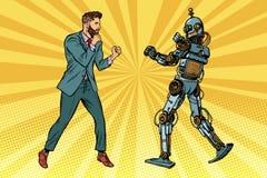 Πάλη επιχειρηματιών με ένα ρομπότ ελεύθερη απεικόνιση δικαιώματος