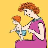 Πάνα μωρών αλλαγών Mom Στοκ Εικόνα