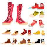 Πάνινα παπούτσια καθορισμένα διανυσματικά Ζευγάρι των περιστασιακών νέων αθλητικών υποδημάτων Ένδυση ποδιών, παπούτσι, κορδόνι Γι διανυσματική απεικόνιση