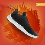 Πάνινα παπούτσια στο αφηρημένο υπόβαθρο, ρεαλιστικό ύφος Αθλητικά παπούτσια για το τρέξιμο, την ικανότητα ή το περπάτημα Μπορέστε ελεύθερη απεικόνιση δικαιώματος