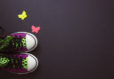 Πάνινα παπούτσια στο μαύρο πίνακα Στοκ Φωτογραφίες