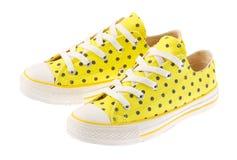 πάνινο παπούτσι κίτρινο Στοκ Εικόνες