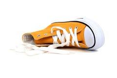 πάνινο παπούτσι κίτρινο Στοκ εικόνα με δικαίωμα ελεύθερης χρήσης