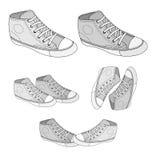 Πάνινο παπούτσι που σκιαγραφείται κλασικό Στοκ Φωτογραφίες