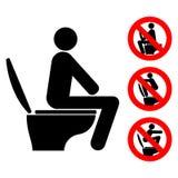 Πάντα καθίστε κατά το χρησιμοποίηση του συμβόλου τουαλετών και των απαγορευμένων χρήσεων της τουαλέτας διανυσματική απεικόνιση