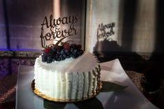 Πάντα και για πάντα γαμήλιο κέικ Στοκ Φωτογραφίες