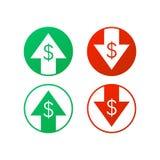 Πάνω-κάτω το σημάδι δολαρίων στο άσπρο υπόβαθρο απόθεμα απεικόνισης κατασκευής κάτω από το διάνυσμα Στοκ Φωτογραφία