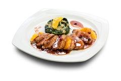 Πάπια και τριζάτο χοιρινό κρέας πέρα από το ρύζι Στοκ φωτογραφία με δικαίωμα ελεύθερης χρήσης