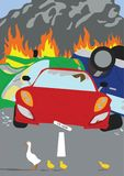 Πάπιες που διασχίζουν το δρόμο που προκαλεί έναν σωρό αυτοκινήτων επάνω απεικόνιση αποθεμάτων