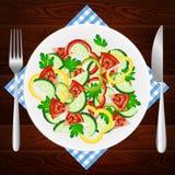 Πάπρικα αγγουριών ντοματών διατροφής σαλάτας Στοκ εικόνα με δικαίωμα ελεύθερης χρήσης