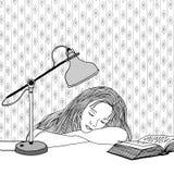 Πάρα πολύ κουρασμένος στη μελέτη Στοκ Εικόνες