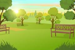 Πάρκο ή τετράγωνο πόλεων με τα δέντρα στο διάνυσμα λιβαδιών ελεύθερη απεικόνιση δικαιώματος