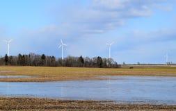 Πάρκο ανεμόμυλων στη Λετονία - άποψη από ploughland με τα παγωμένα νερά Στοκ εικόνα με δικαίωμα ελεύθερης χρήσης