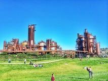 Πάρκο εργοστασίων παραγωγής αερίου Στοκ Εικόνα