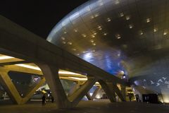 Πάρκο και Plaza DDP σχεδίου Dongdaemun τη νύχτα Στοκ Εικόνα