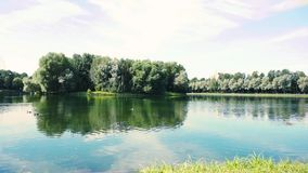 Πάρκο με τη λίμνη στη μεγάλη πόλη στην ηλιόλουστη ημέρα Πάρκο Izmailovo στη Μόσχα απόθεμα βίντεο