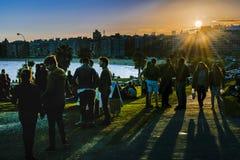 Πάρκο προκυμαιών στο ηλιοβασίλεμα, Μοντεβίδεο, Ουρουγουάη Στοκ Φωτογραφίες