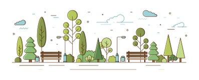 Πάρκο πόλεων ή δημοτικός κήπος με τα δέντρα, τους Μπους, τους φωτεινούς σηματοδότες και τους πάγκους Αστική ψυχαγωγική περιοχή ή  απεικόνιση αποθεμάτων
