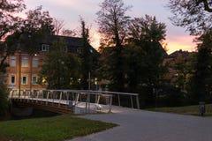 πάρκο πόλεων τη νύχτα με τους λαμπτήρες και τη λεωφόρο με τα δέντρα στο νότο Στοκ φωτογραφία με δικαίωμα ελεύθερης χρήσης