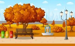 Πάρκο πόλεων φθινοπώρου με τα κτήρια κωμοπόλεων απεικόνιση αποθεμάτων