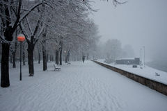 Πάρκο πόλεων των Σκόπια στο χιόνι Στοκ Εικόνες