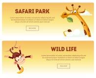 Πάρκο σαφάρι, άγρια οριζόντια εμβλήματα ζωής καθορισμένα, άγριο αφρικανικό τοπίο φύσης με τη διανυσματική απεικόνιση ζώων ελεύθερη απεικόνιση δικαιώματος