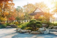 Πάρκο στο ιαπωνικό ύφος με τα κόκκινα κίτρινα δέντρα σφενδάμνου στοκ εικόνα