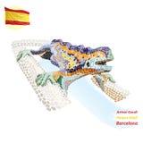 πάρκο της Βαρκελώνης guell διανυσματική απεικόνιση