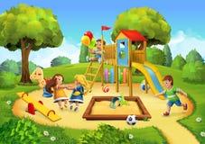 Πάρκο, υπόβαθρο παιδικών χαρών Στοκ Εικόνες