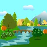 Πάρκο φθινοπώρου με έναν ποταμό απεικόνιση αποθεμάτων