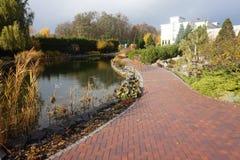 Πάρκο φθινοπώρου με μια πορεία κυβόλινθων Στοκ Εικόνα